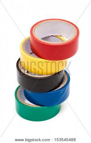 variegated electrical tape on white background