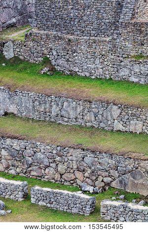 walls on the mountain of Machu Picchu