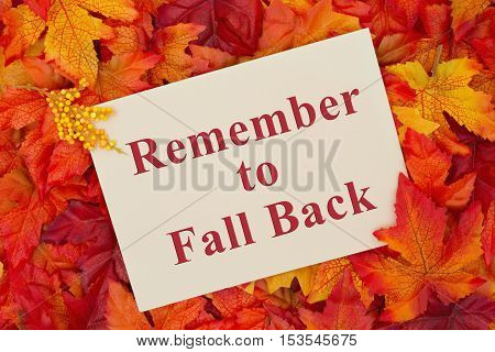 Fall Back message Some fall leaves with a beige greeting card with text Remember to fall back