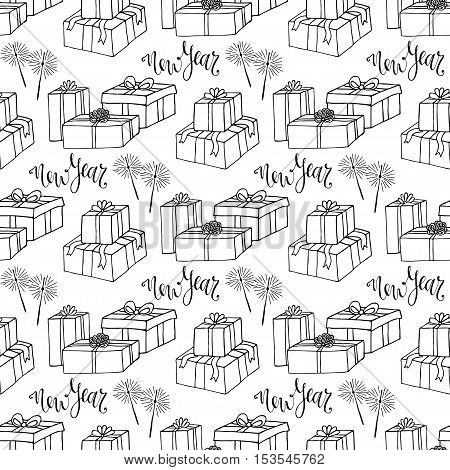 New year gift paper. Wrapping seamless pattern. Vector repeating texture with gift box and sparklers
