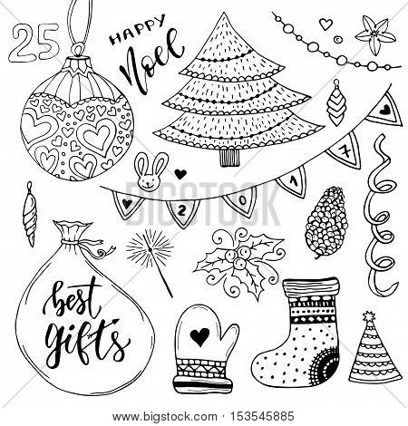 New Year collection of decorations. Christmas vector elements. New year tree illustration.