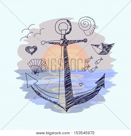 Vector illustration, which imitates ballpoint pen drawing on watercolor background on the marine theme. Anchor and other elements on the sunset background. Nostalgia of marine leisure.