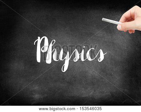 Physics written on a blackboard