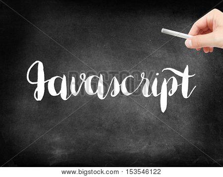 Javascript written on a blackboard