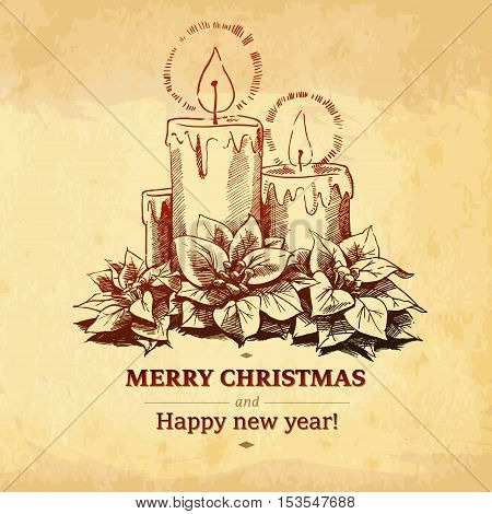 Christmas and New year holidays vector hand drawn illustration on paper background