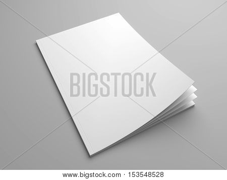 Blank cover mock up of a magazine. 3D illustration template brochure with blank cover.