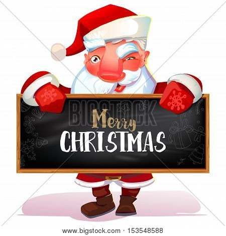 Happy Santa Claus looking out from behind blackboard sign isolated on white background. Merry Christmas text greetings. Vector illustration.