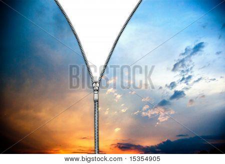 Zipper and evening clouds