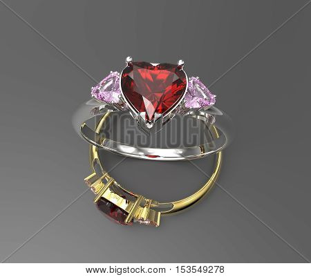 Wedding rings with diamond heart. 3d digitally rendered illustration