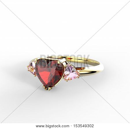 Wedding ring with diamond heart. Fashion Jewelry. 3D illustration