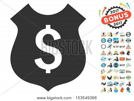 Financial Shield icon with bonus 2017 new year design elements. Vector illustration style is flat iconic symbols, modern colors.