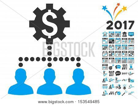Industrial Bank Clients icon with bonus 2017 new year design elements. Vector illustration style is flat iconic symbols, modern colors.