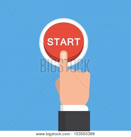 Hand pushing start button. Flat style. Tomorrow, new life, technology, business, beginning and start concept. EPS 10 vector illustration, no transparency