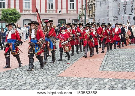 TIMISOARA ROMANIA - OCTOBER 162016:Medieval soldiers that marched on the street. Show organized by City Hall Timisoara to celebrate the 300 years since the entry of Eugene of Savoy into the fortress