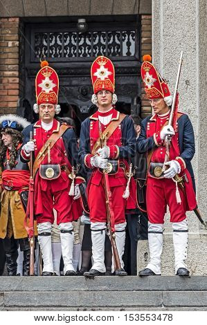 TIMISOARA ROMANIA - OCTOBER 16 2016: Medieval soldiers present at church. Show organized by City Hall Timisoara to celebrate the 300 years since the entry of Eugene of Savoy into the fortress.