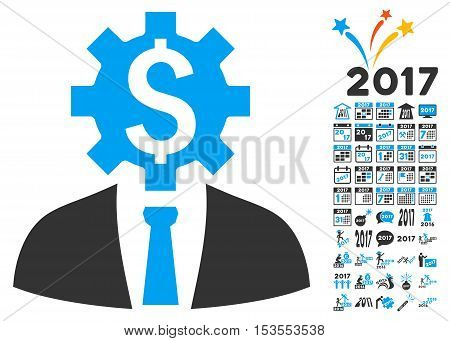 Office Bank Worker pictograph with bonus 2017 new year clip art. Vector illustration style is flat iconic symbols, modern colors.