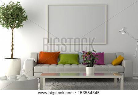 Carpet on the floor sofa interior plant and blank picture frame on the wall. 3D illustration