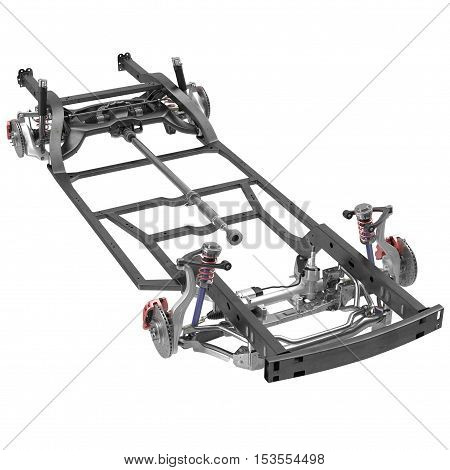 car chassis isolated on white background. 3D illustration