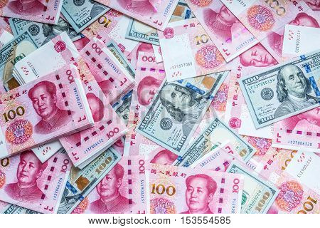China and USA money one hundred bank note background.