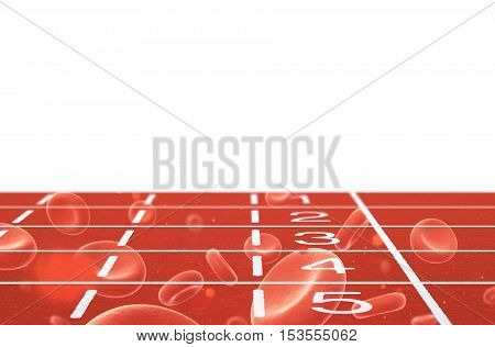 Running track with red blood cells double exposure on white background 3d illustration