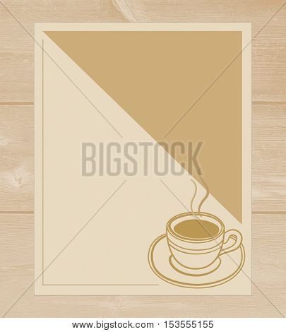 Cafe menu with coffee Cup on wooden background with copy space for text.