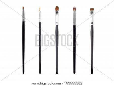 Brow makeup brush set. Isolated. White background.