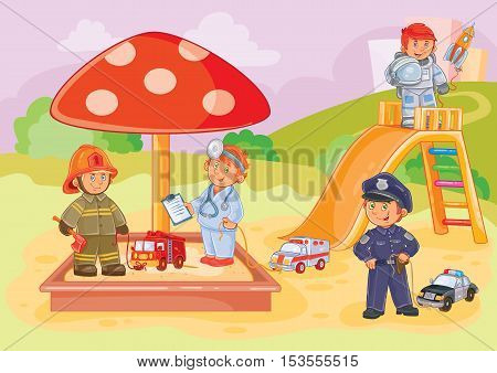 Vector illustration of little children police, firefighter, astronaut and doctor playing in the playground