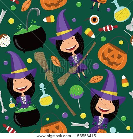 Cute girl in witch costume vector seamless pattern. Halloween background with teenager and magic tools