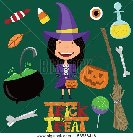 Cute girl in witch costume and magic tools. Halloween objects and candies icon set.