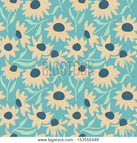 Beauty flowers vector seamless pattern. Floral abstract background. Pretty nature repeat wallpaper.