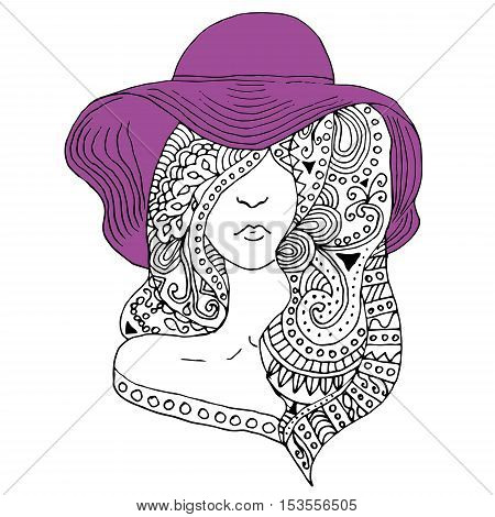 young pretty girl with doodle hairs wearing violet hat. Fashion illustration. Uncolored image can be used as adult coloring book, coloring page, invitation, greeting card.