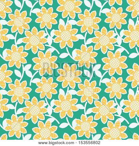 Sunflowers vector seamless pattern. Floral abstract background. Pretty nature repeat wallpaper.