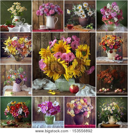 Collage from still lifes with bouquets. Still life with a bouquet of cultivated flowers pumpkin and cowberry. Flowers. Flower background.