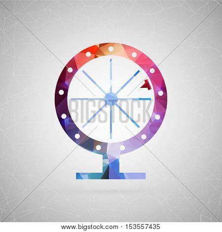 Abstract creative concept vector icon of fortune wheel. For web and mobile content isolated on background, unusual template design, flat silhouette object and social media image, triangle art origami.