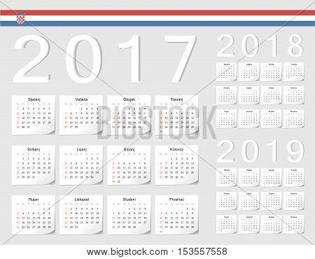 Set Of Croatian 2017, 2018, 2019 Vector Calendars