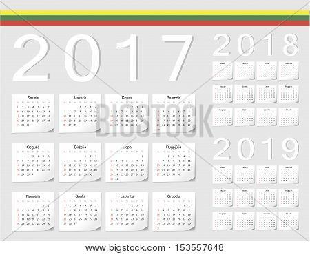 Set Of Lithuanian 2017, 2018, 2019 Vector Calendars
