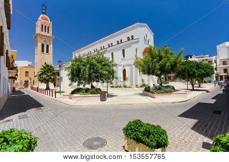 Rethymnon Island Crete Greece - July 1 2016: View on the Megalos Antonios church and the belltower of the Megalos Antonios church