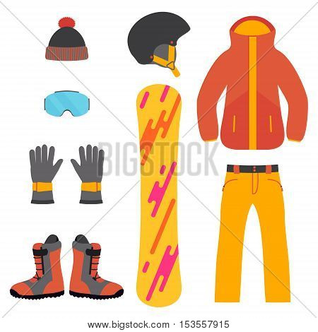 Set of snowboarding equipment icons on white background. Isolated snowboard and ski sport clothes and tools elements. Winter sport concept. Vector illustration.