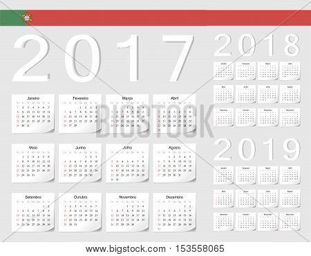Set Of Portuguese 2017, 2018, 2019 Vector Calendars