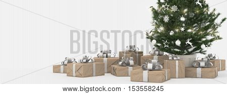 3d rendering. christmas tree with presents isolated on white.