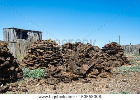 Large piles of dung manure mixed with straw. Used as fuel or for buildings.