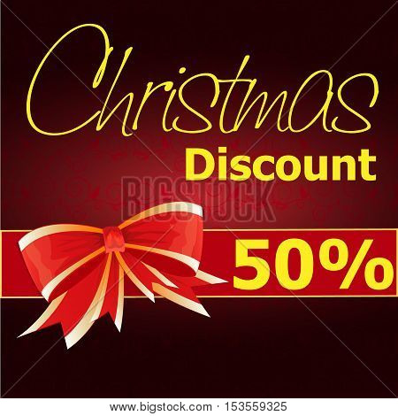 Christmas Sale Text Design Red Background. Vector Illustration