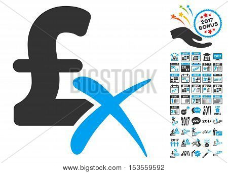 Reject Pound icon with bonus 2017 new year pictograph collection. Vector illustration style is flat iconic symbols, modern colors.