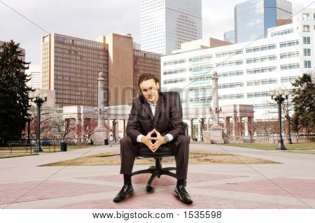 Businessman And City Center