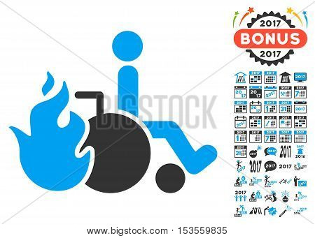 Burn Patient pictograph with bonus 2017 new year icon set. Vector illustration style is flat iconic symbols, modern colors.