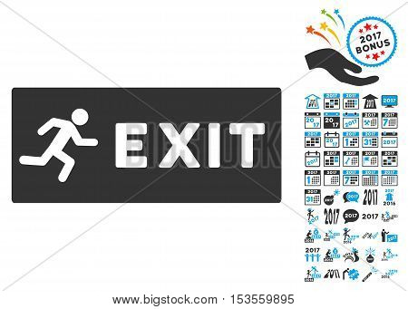 Emergency Exit pictograph with bonus 2017 new year icon set. Vector illustration style is flat iconic symbols, modern colors.