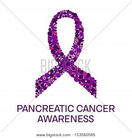 Pancreatic cancer awareness poster. Purple ribbon made of dots on white background. Pancreatitis disease. Medical concept. Vector illustration.