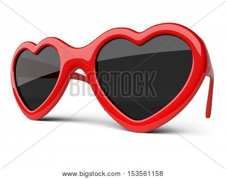 Red colored glasses in a form heart. Happiness and love conceptual 3d illustration.