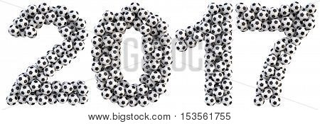 new 2017 year from the soccer balls. isolated on white. 3D illustration