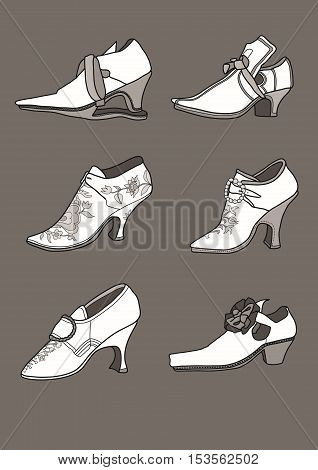 Shoes from the 17th century at Europe.
